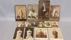 14 db Kemény hátlapos antik fotó portré