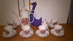 18556B Gyönyörű virág mintás első osztályú Alföldi porcelán kávés készlet
