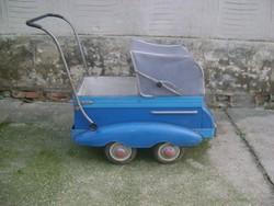 ANTIK, ritka, autó formájú bájos babakocsi - fém testtel