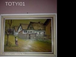 Pallagi Tamás:utcarészlet olaj karton festmény!!
