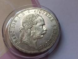 1891 ezüst 2 Florin,gyönyörű verdefényes karmentes darab,Nagyon Ritka!!!