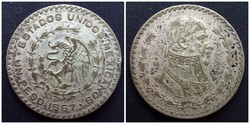 Mexikó ezüsttartalmú 1 pezó 1967