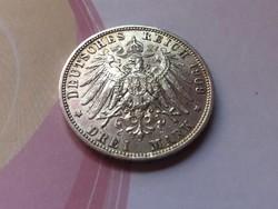 """1909""""D"""" ezüst bajor 3 márka 16,7 gramm 0,900 ritkább szép érme"""