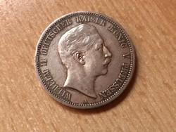 1903 porosz ezüst 5 márka 27,7 gramm 0,900 szép darab