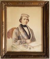 Angol festő, 19. sz. közepe: Festőművész portréja, akvarell