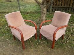 Antik art deco fotel szép fa karfákkal 47cm ülésmagassággal