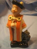 N16 Art decó Bojtár fiú pulival Komlós jelzett ritka kerámia figura eladó 1930-as évek
