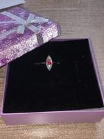 Antik 14K arany gyémánt,rubint kővel díszített karika gyűrű