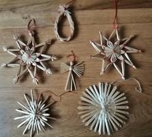 6 db szalma karácsonyfadísz