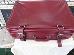 Retro régi utazó bőrönd, Régi bőr bőrönd 60-s, 70-s évek