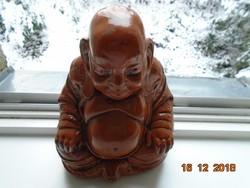 Sárkányos palásttal,meditáló Buddha,mázas vörös agyag (Yixing ?)-18,5x15x13,5 cm