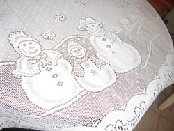 Csodaszép téli képes csipke karácsonyfa köré teríthető csipke terítő