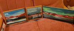 Bíbor horizont, három festmény, egy témára, méret jelezve, fa-farost, olaj