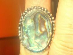 Tekintélyes Abalone Paua Gyöngyház köves 925 ezüst Gyűrű 17-es