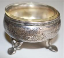 Ezüst fűszertartó üvegbetéttel Dianna fej 835‰ ezüstjellel lábai áttört mintázatú díszítéssel