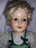 Antik régi baba oldalra is néző huncut szemű  ROSCHI jelzett baba