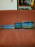 Szürke horizont, 3 db-os sorozat, olaj, vastag falapon, szignós