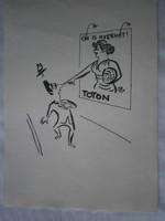 Szepes Béla TOTÓ-reklám karikatúra tus 15x21.5 cm