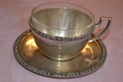 Ezüst teáscsésze üvegbetéttel ' Seligman ' jelzéssel és Dianna fej ezüstjellel