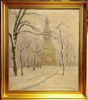 SZEMENYEY FERENC /1894 - 1990/:Havas park templommal,70 x 60 cm