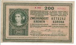 200 korona 1918 hullámos hátlap
