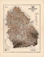 Hunyad megye térkép 1889, Magyarország, vármegye, atlasz, Kogutowicz Manó, 43 x 56 cm, eredeti