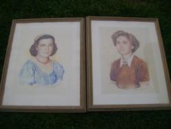 2 db nagyméretű portré  minőségi fa keretben 1950-ből híres festő alkotásai  54x44 cm