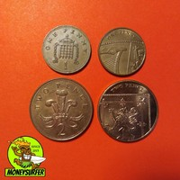 Egyesült Királyság 4db 1-2 penny 1980-2013 NSZ
