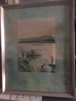 Kolbenheyer Bertalanné, Göbl Vera: A Rákos-patak torkolata, jelzett akvarell festmény 1956-ból