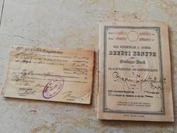 BAJA KERESK ÉS IPARBANK BETÉT KÖNYVE, NYUGTATVÁNY, ÉRTESÍTŐ ÉS ELISMERVÉNY 1921
