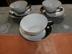 Art deco fekete-fehér hollóházi csészék