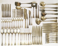 [3521 gramm] Angol fazonú 6 személyes, 69 darabos ezüst evőeszköz készlet
