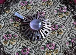 Rózsakvarc design ezüst medál
