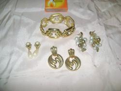 Retro ékszerek - arany színű karkötő és három pár klipsz, fülbevaló