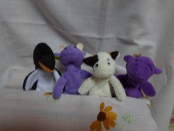 Plüss állat - ujjbáb (kicsi, játék): pingvin, tehén, kecske