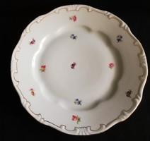 Régi jelzett arany tollazott apró virág mintás Zsolnay lapos tányér