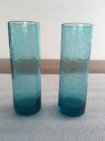 Vintage, retro kék fátyolüveg pohár 2db