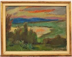 Iván Szilárd (1912-1988) Sajkod , Balaton ,Tihany. képcsarnokos 92x72cm cm EREDETI GARANCIÁVAL !!!