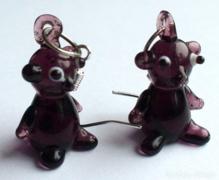 Muránói bordó üveg kutya fülbevaló, 925ös ezüstkamp