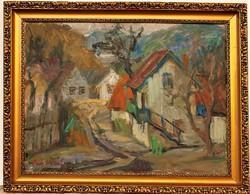 Piri Kálmán (1908-1983) Tájkép c. képcsarnokos olajfestménye 92x72cm cm EREDETI GARANCIÁVAL !!!