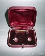 Art Deco Mandzsettagomb és inggomb zománcdísszel, dobozában