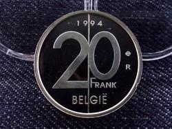 Ritka ezüst belga 20 frank tükörveret, utánveret 1994
