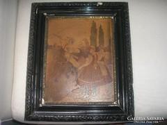 Antik Intarzia színes lovas kép,igen részletgazdag ritkaság 40 x 34 cm