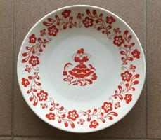 Zsolnay porcelán fali tányér népi jelenetes