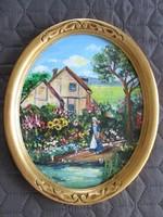 Ház a tóparton - festmény elegáns ovális képkeretben