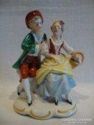 Régi jelzett számozott porcelán szobor úri pár