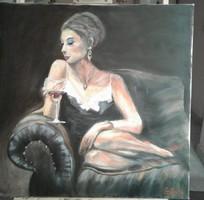 Női portré olaj festmény