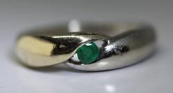 Valódi smaragd sárga és fehér arany gyűrű