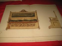 Berán B. Tervrajz egy  ülő alkalmatosságról  Berán B.  ARAD 1895   ,47x37 cm