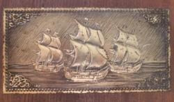 Hajós relikvia pléh doboz. Mérete:12x24 cm 5cm magas.